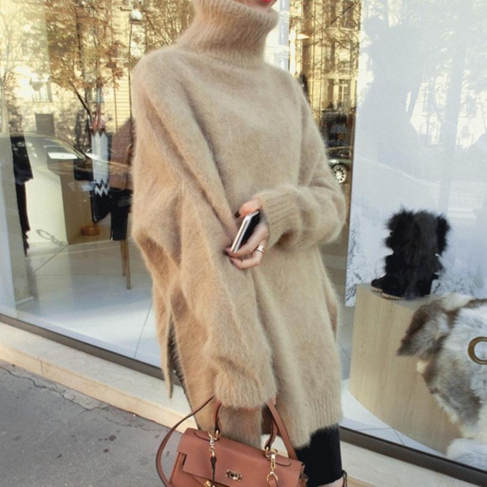 Chandail manteau femelle tempérament manches chauve-souris lâche vison cachemire pull à col roulé livraison gratuite