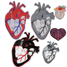 1Pcs New Human Anatomical Heart Skeleton Details Patch Biker Rock Iron On Peace Love Back Patches Creative Badges Parches