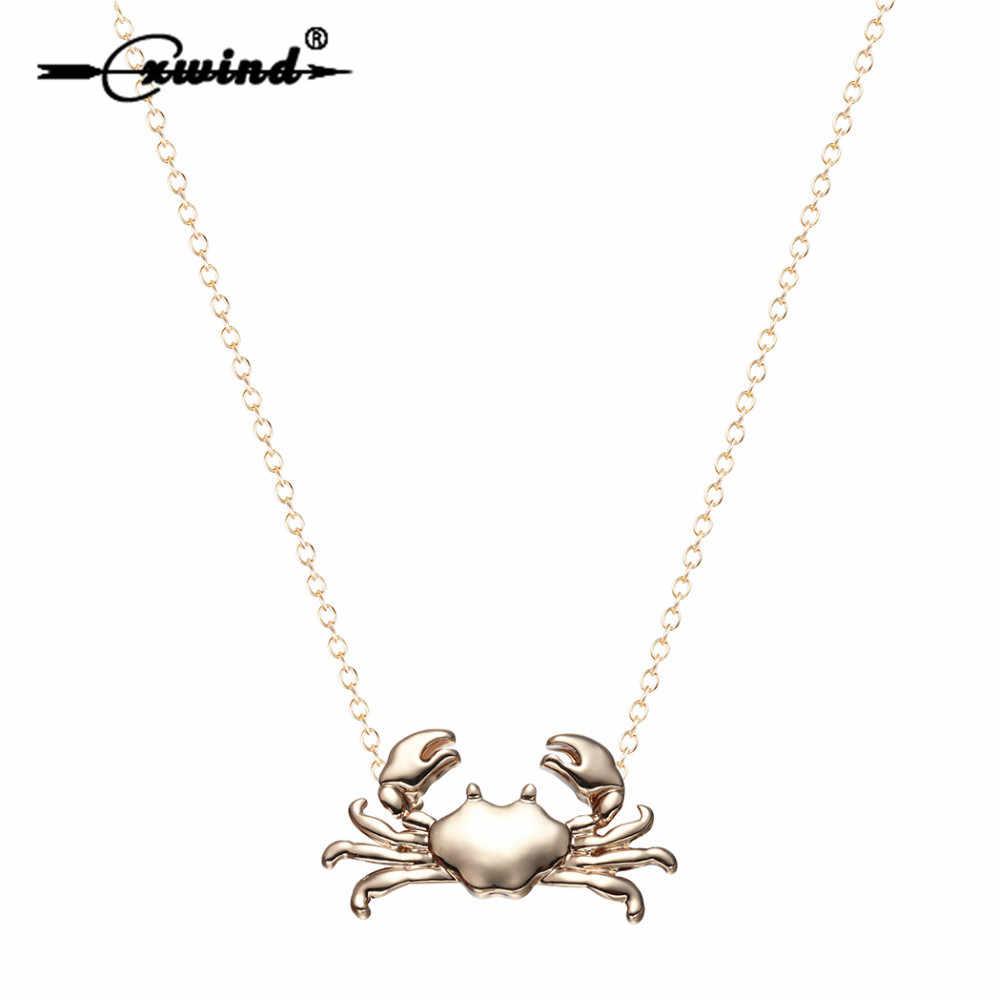 Cxwind 12 星座がん干支ネックレス & ペンダントファッション海メリーランドカニペンダントネックレス女性ガールズジュエリー