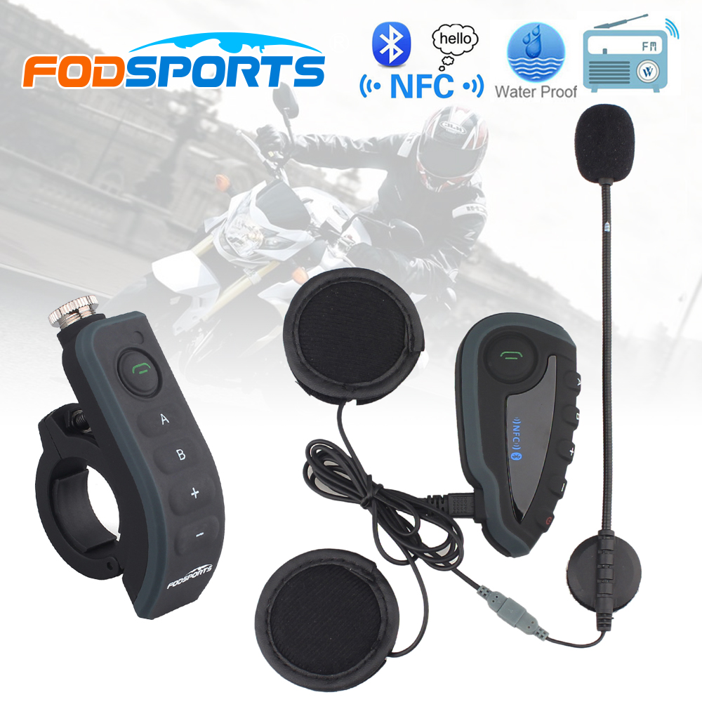 V8 BT Interphone with Remote Controller FM NFC Bluetooth Motorcycle Intercom 1200M Intercomunicador V8 motos lexin 2pcs max2 motorcycle bluetooth helmet intercommunicador wireless bt moto waterproof interphone intercom headsets