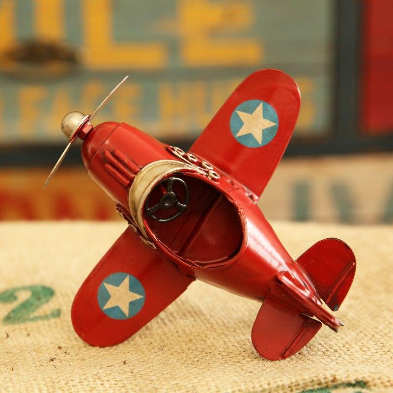 Retro Biplane Model Home Decor Iron Plane Model Iron Aircraft Glider Biplane Pendant Airplane Figurines Status Metal Plane Model