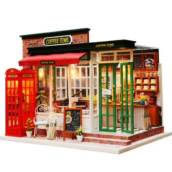 Miniature Coffee Shop Model Dollhouse Furniture Kits DIY Wooden Dolls House With LED Lights Handmade Children Birthday Gift