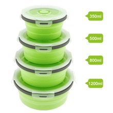 4pcs Silicone Scalable Folding Lunch Box Collapsible Food Container Bento with Sealing Plug