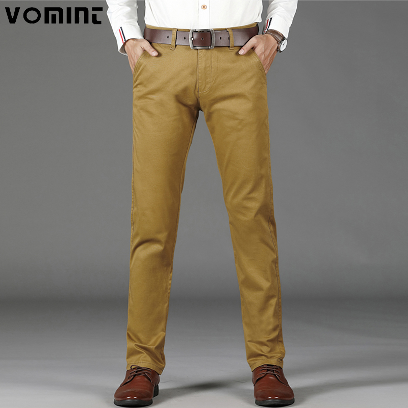 VOMINT Mens Casual Basic Pants Simple Trousers Regular Straight Pocket Details Trousers Stretch Pants Male Big Size 44 46