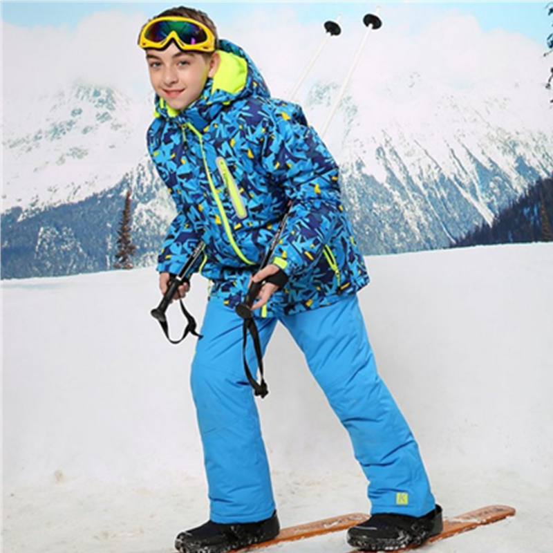 5-12Y Children Clothes Sets 2017 Winter Windproof Sport Ski Suit Boys Fleece Jacket+Bib pants For -30 Degree Kids Warm Coat 3 colors autumn winter boys clothing sets kids jacket pants children sport suits boys clothes set kid sport suit thicken