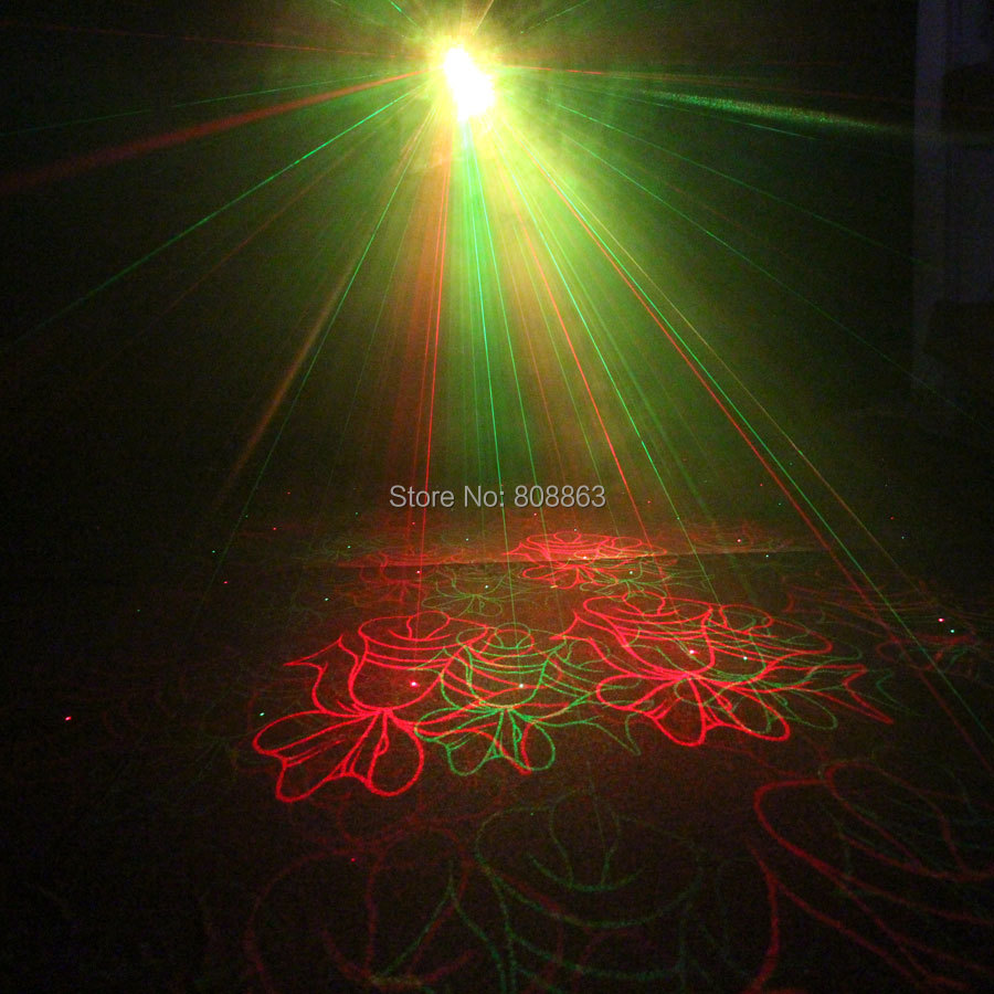 New MINI R&G Laser Christmas 4 patterns projector holiday dj bar Club disco family birthday party Lighting Stage Light Show B199
