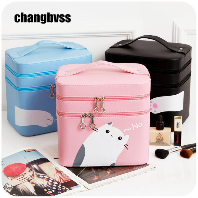 Delightful Desktop Or Portable Travel Cosmetic Storage Bag Jewelry Box Large Capacity  Cosmetic Makeup Organizer Cute Cat