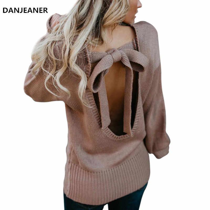 Danjeaner Sexy Backless Bow Slim Fit Dệt Kim Chui Đầu Cộng Với Kích Thước Rắn Áo Len Phụ Nữ Mùa Thu Mùa Đông Retro Thời Trang Dạo Phố Jumper