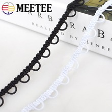 10meters Meetee 1cm U-Wave Lace Trim Ribbon Black White Centipede Braided Lace Band Curved Edge DIY Sewing Clothing Accessories wave lace trim gingham bardot top