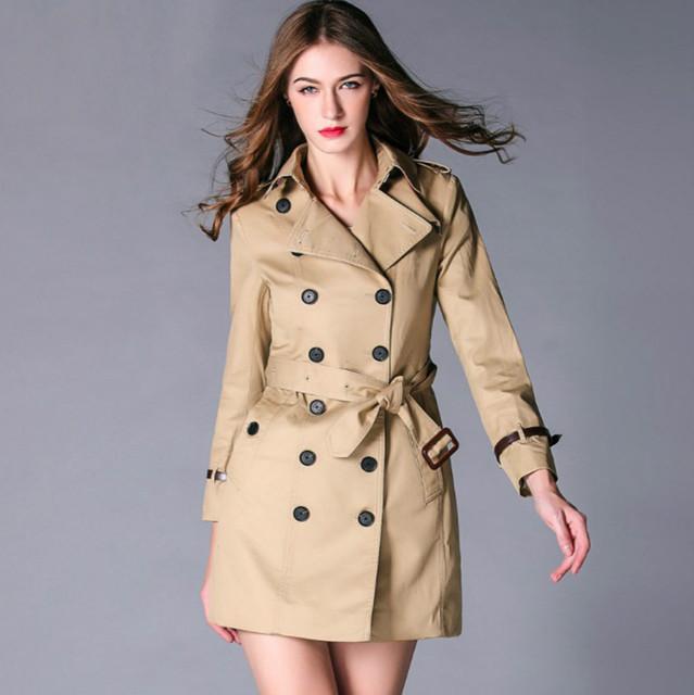 Alta qualidade burdully trench coat mulheres 2017 estilo britânico marca de luxo designer de outerwear trincheira de médio longo fino casaco feminino