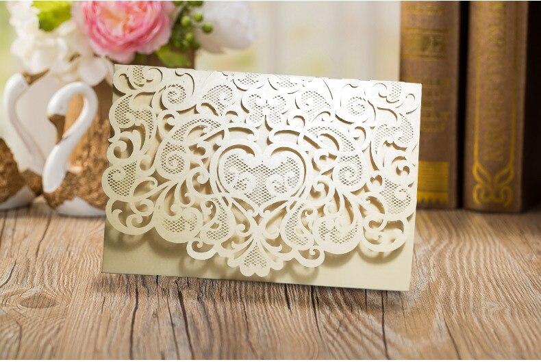 Tarjetas de invitaciones de boda de papel de alta calidad 3 veces de - Para fiestas y celebraciones