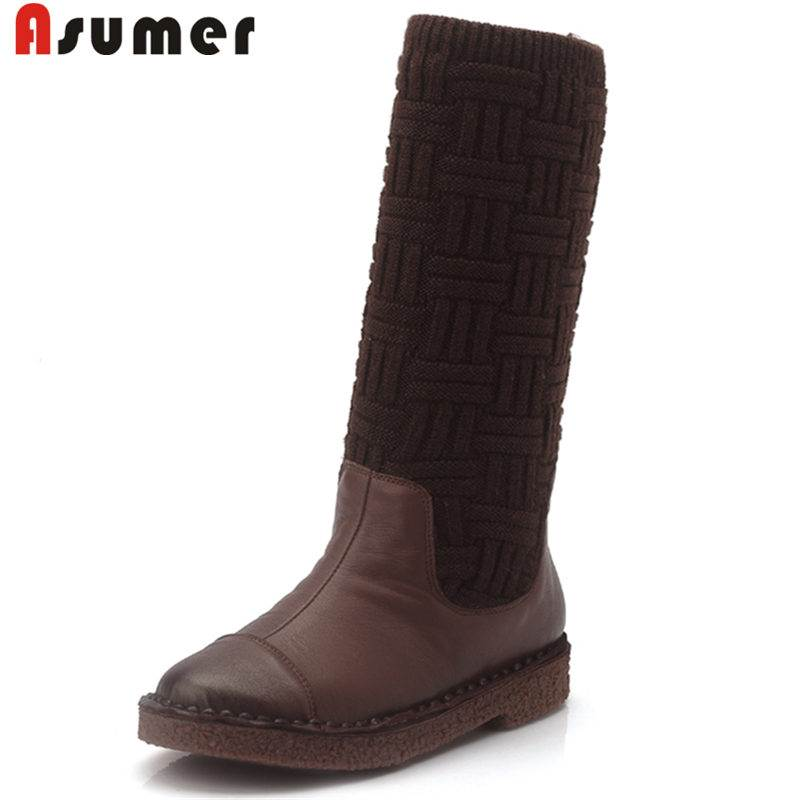 ASUMER NEW arrival 2018 fashion genuine leather+stretch fabric boots round toe mid calf boots for women slip on winter boots riding winter boots feathers 2015 new fashion korean metal decoration genuine leather elevator pull on pure color round toe