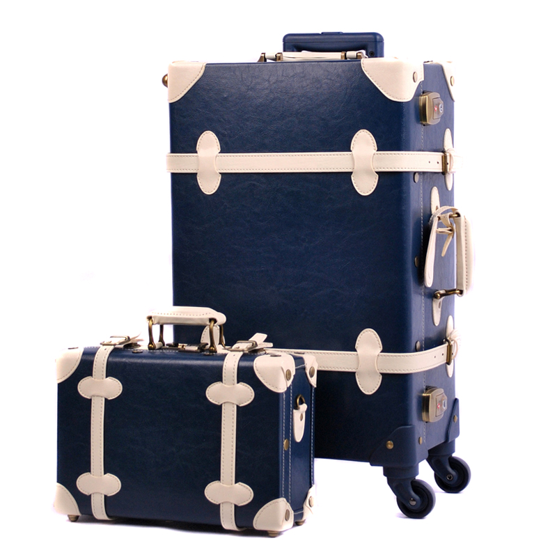 Women PU Leather Retro Luggage Set Ladies Spinner Wheels Environmental Approved Suitcases Sets Married Luggages With 8 Colors In Hardside From