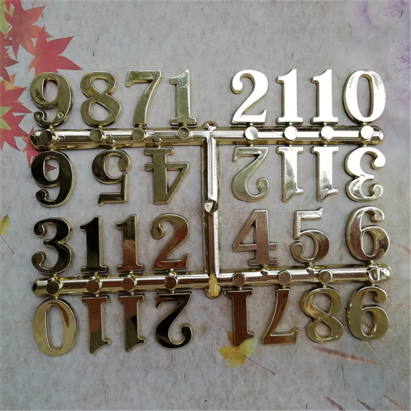 Wholesale 20Units 2.5Cm Plastic Clock Numbers Gold Arabic Numbers Clock Equipment Diy