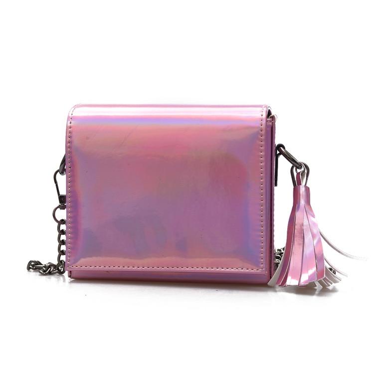 ФОТО Holographic Bags 2017 women's handbag fashion mini bag high quality PU leather tassel chain hologram bag