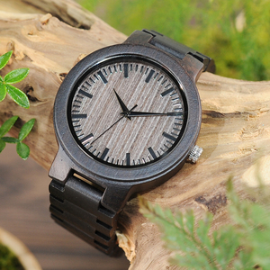 Image 3 - BOBO BIRD Mens Black Ebony Wooden Watch with Wooden Watch Male Strap Quartz Analog kol saati Luxury Dial Diameter Custom logo