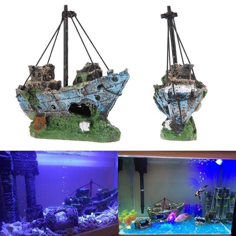 Hoomall Resin Aquarium Decor Sunk Pirate Ship Aquarium ...