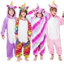 Купить с кэшбэком Children's Pajamas Unicorn for Boys Girls Onesies Kigurumi Flannel Kids Pyjamas 2019 New Cartoon Animal Cosplay 3 4 6 8 10 Years
