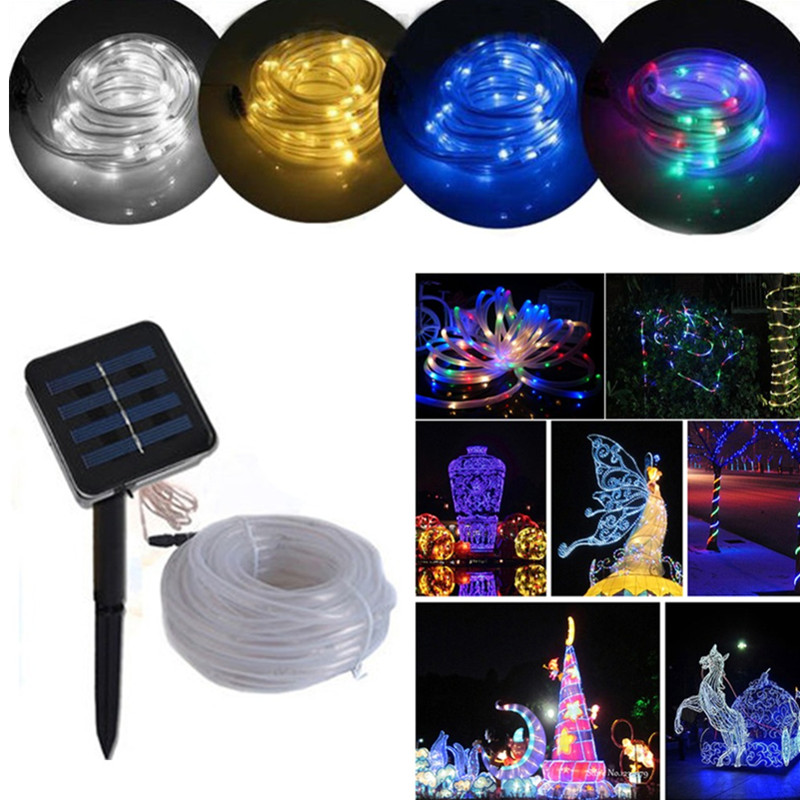 Top Quality 7M 50 LED Solar Rope Tube Led String Strip Fairy Light <font><b>Outdoor</b></font> Garden Party Decor Waterproof