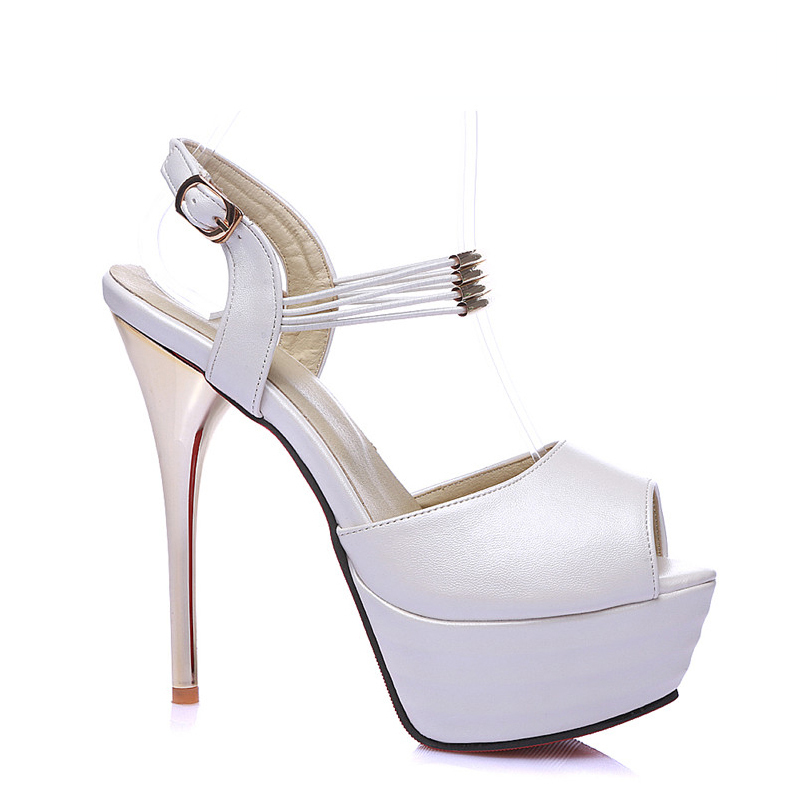 Cocoafoal Women White Wedding Sandals Plus Size 31 - 44 Pink Rose Red High Heels Pole Dance Shoes Sexy Peep Toe Summer Pumps(China)