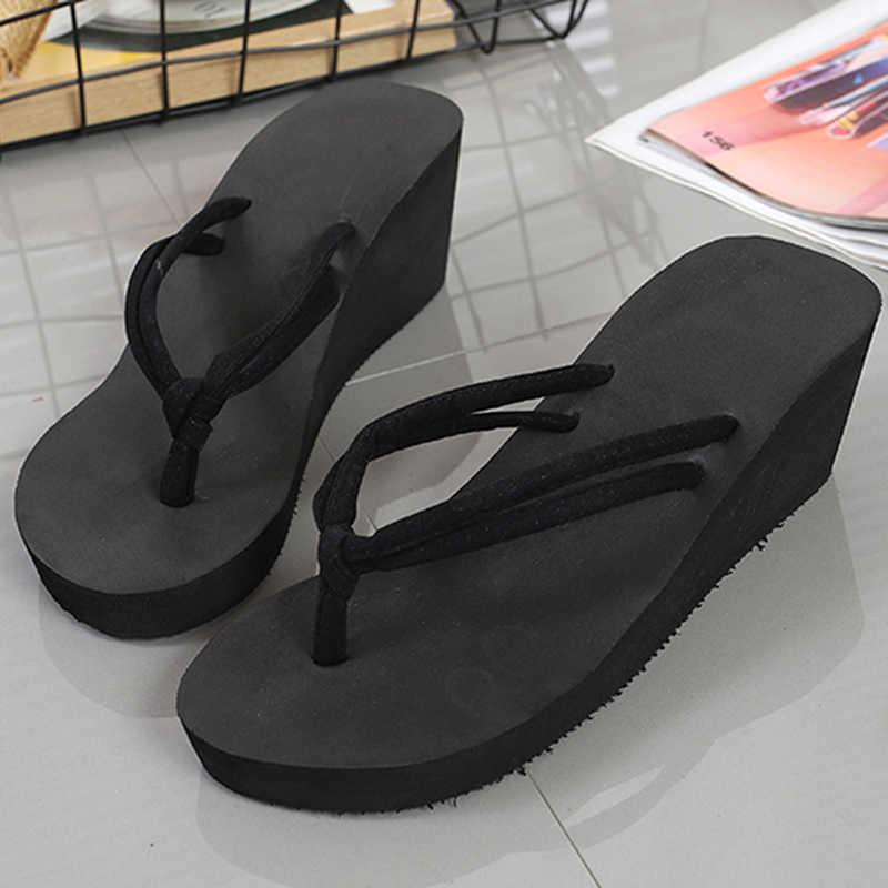 קליפ הבהונות כפכפים נעלי נשים טריז סנדלי קיץ סנדלים מזדמנים חוף נעלי ערב עמיד למים פלטפורמת טריזי סנדלים