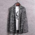 2017 Nova Moda Dos Homens de Lã Grossa de Malha Cardigan Com Decote Em V Blusas Homens Baratos Kintt Bolsos Camisola homem juventude