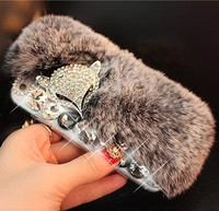 3D Luxury Bling Diamond Rabbit Fur Case Fox Head Phone Case Cover For IPhone 4s 5