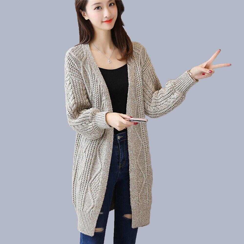 2018 winter warm knitting long cardigan female Loose ...
