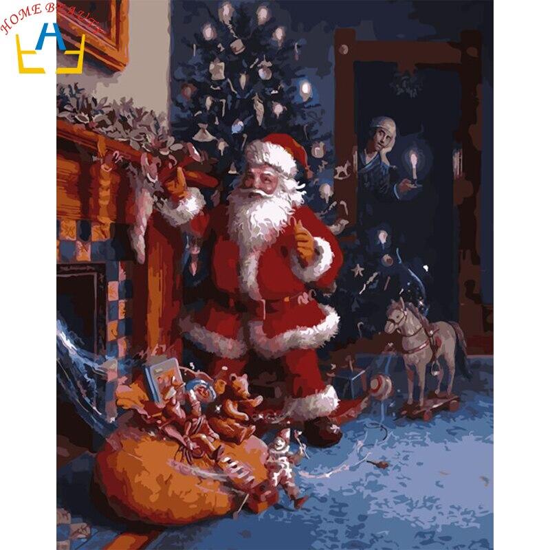 Lukisan Kaligrafi Gambar Dengan Nomor Diy Minyak Santa Claus Hadiah