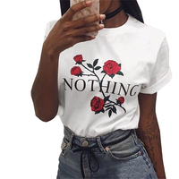 Bmabooboy NOTHING Letters ROSE Print Women T Shirt Cotton Blend Casual Shirt For Lady Women T