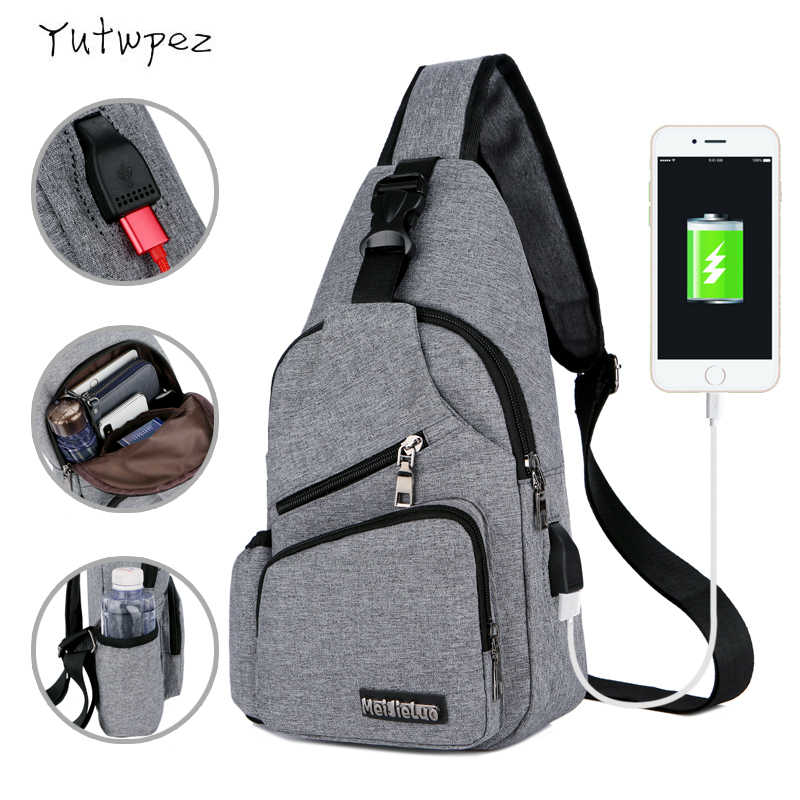 Chest Bag Men With Side Bottle Pocket Canvas Sling Bag Shoulder (USB Charge Interface) 2019 Satchel Large Crossbody Charing Bag