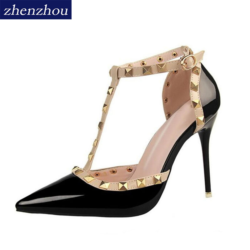 ZHENZHOU woman Pumps 2018 Summer style Women's shoes fashion female sandals rivet Metal decoration pu leather women high heels