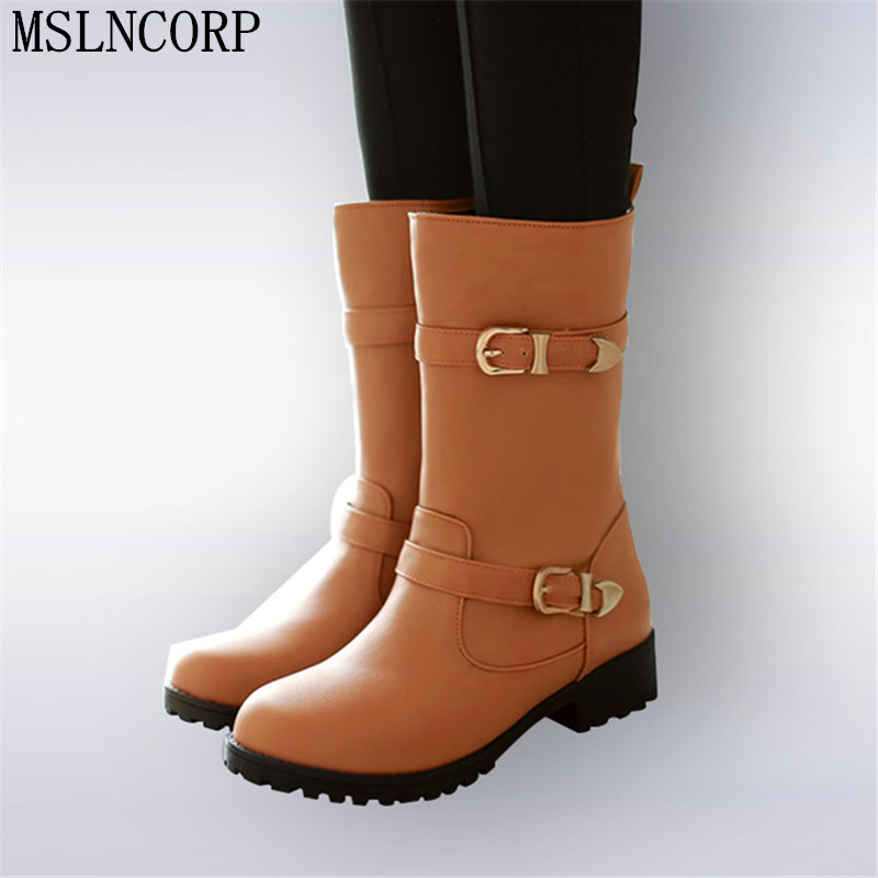 New Style Autumn Winter Women Boots Warm Leather Snow Boots Female Round Toe Mid-Calf Fashion Flats Boots Shoes Plus Size 34-43 free shipping 2016 new winter women snow boots plus size 34 43 round toe lace up warm sweet pink martin boots boty