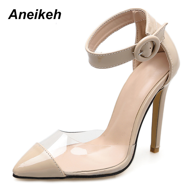 Aneikeh High Heel Shoes Woman Clear Heels PVC Buckle Pointed Toe Slides  Pumps Transparent Hollow Party Dress Shoes apricot silve 0548e8db4a35