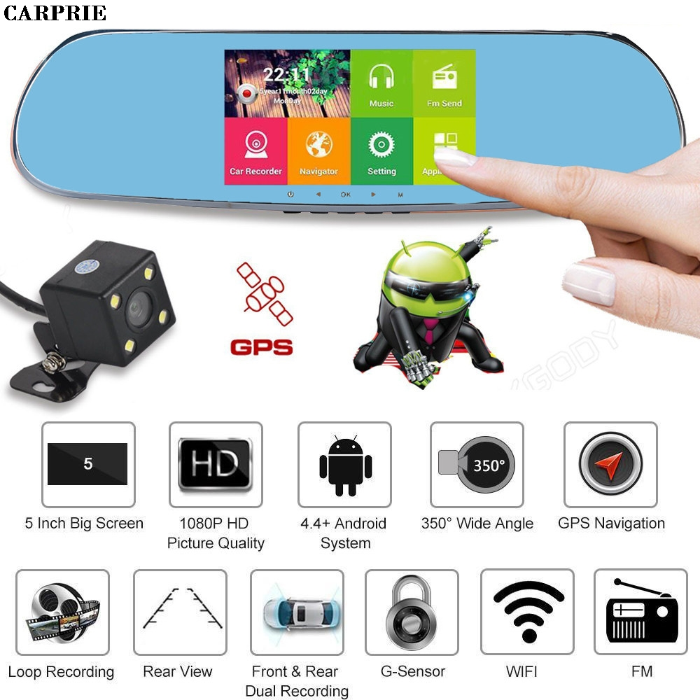 CARPRIE Quad Core 5'' Android 4.0 Car Rearview Mirror GPS 1080P DVR +Wifi +Backup Camera Hdmi Full Hd Camcorders BLACK B 6000a 1080p 3 0mp 720p 1 3mp car dvr camcorder w 4 3 tft rearview mirror monitor black