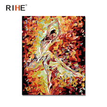 RIHE Dancing Girl Oil Painting By Numbers Ballet Cuadros Decoracion Acrylic Paint On Canvas For Artwork Modern Home Decor 2018