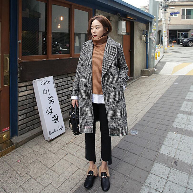 New Autumn Women   Trench   Coat Plaid Turn-Down Collar Long Sleeve Casual Long Coat Double Breasted Windbreaker Coat S0117