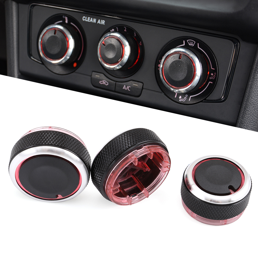 Aluminum alloy air conditioning knob AC Knob For Volkswagen VW POLO 2004-2013 Car Air Conditioning heat control Switch knob 3pcs