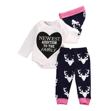3pcs Newborn Bebek Giyim Infant Bebes Boy Girl Clothes Long Sleeve Bodysuit Romper Deer Pant Hat Outfit Toddler Kid Clothing Set