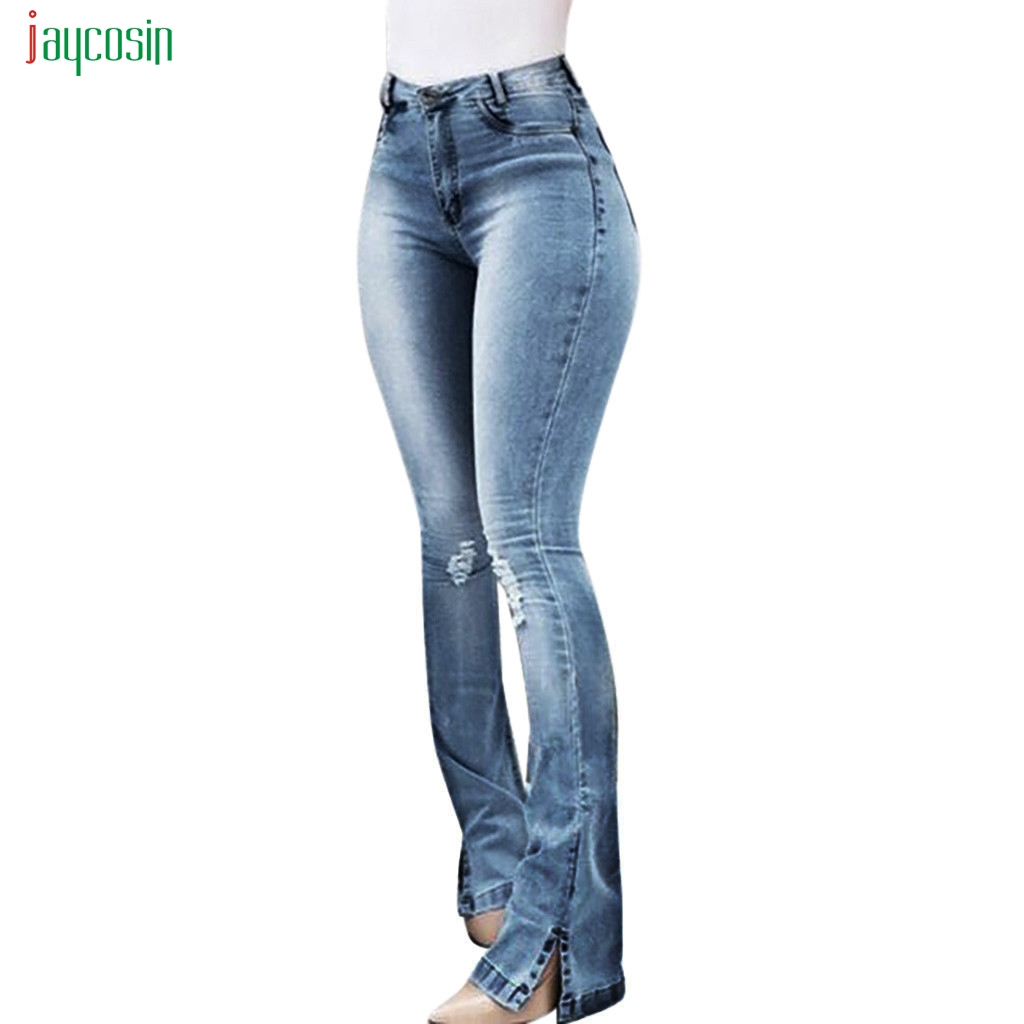 Jaycosin Femmes Évasée Taille Haute en Jean Style Rétro Élégant Cloche Bas Jean Skinny Pantalon Femme Sexy décontracté Ample Jeans