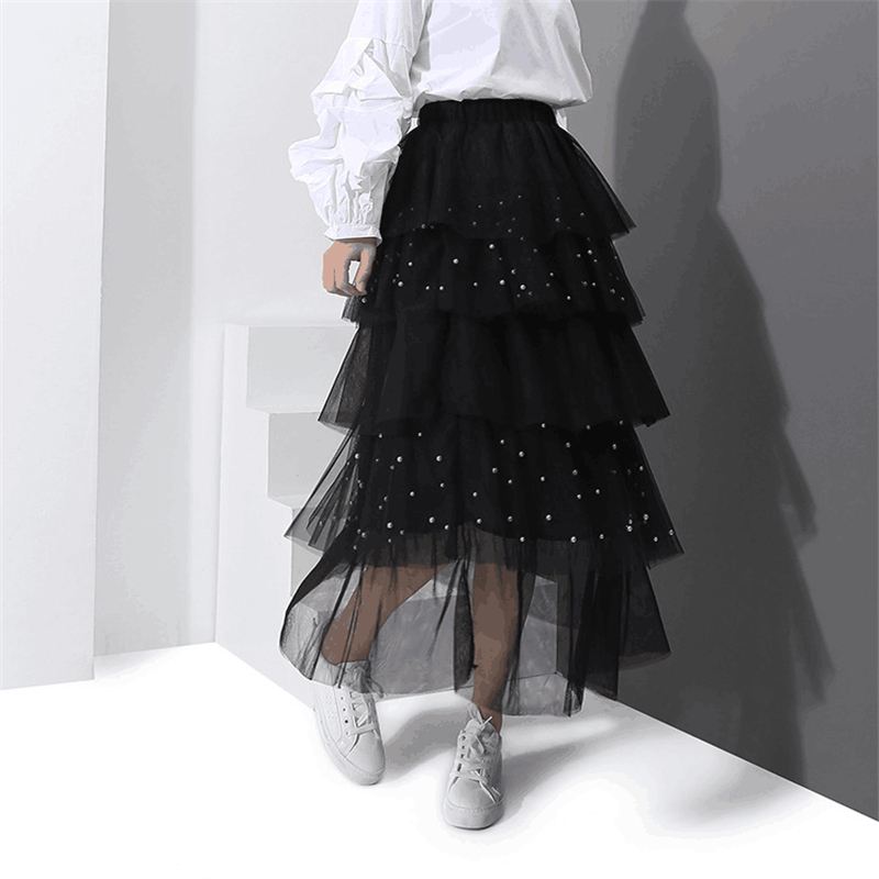 2018New High Quality Fashion Woman Lolita Retro Skirt Lace speckle Cake Long Ripple Skirts Free Shipping
