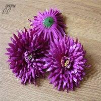 YOYUE 100Pcs/lot 12cm purple Daisy Flower Heads Mini Silk Artificial Flowers for Wreath Scrapbooking Home Wedding Decoration