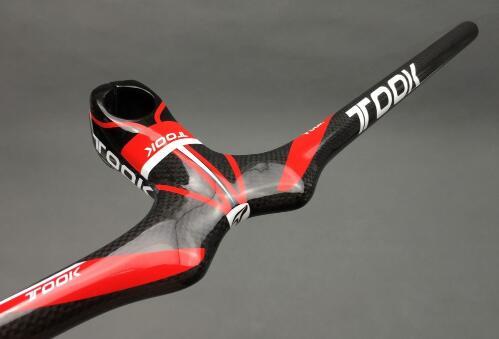 Guidon et tige de vélo en carbone 3 K brillant pour vtt de montagne et vtt intégrés rouge et noir