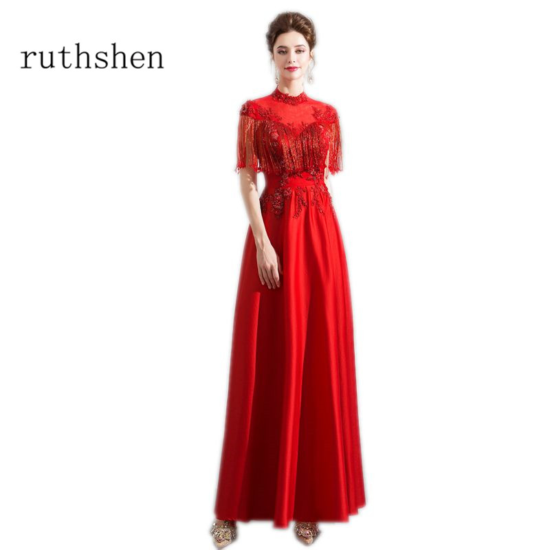 ruthshen Reflective   Dress   Red Long   Evening     Dresses   Appliques Beaded High Neck Tassel Robes De Soiree Formal Occasion   Dresses