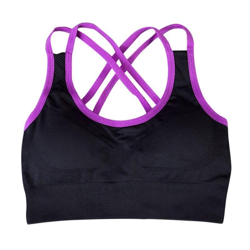 Women Yoga Fitness Stretch Workout Tank Top Seamless Racerback Padded Sports Bra