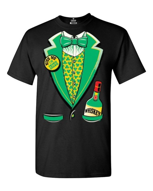 2e6c9240f Tees for men Summer Fashion Chinese Style Irish St. Patrick's Tuxedo  T-shirt Saint Patrick's Day Shirts
