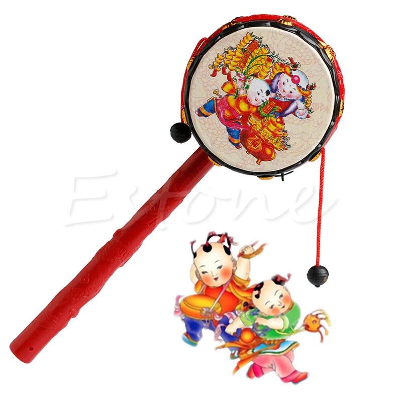 2018 Chinesischen Traditionellen Spin Spielzeug Rassel Trommel Kinder Cartoon Hand Glocke Kunststoff Für Baby Jul17_17 Up-To-Date-Styling