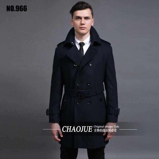 Woolen overcoat male 2015 winter double breasted slim medium-long woolen jacket coat plus size clothing S-5XL free shipping