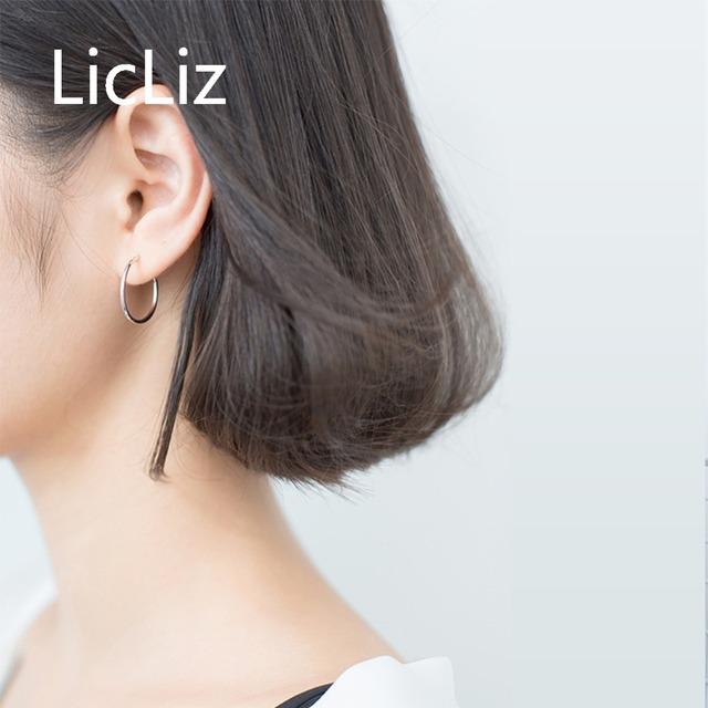 LicLiz 925 Sterling Silver Simple Hoop Earrings for Women Round Circle Hoop Earring Plain Ear Loop Huggies Moda Brincos LE0472