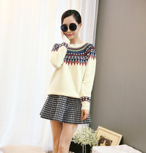 2016 New Fashion Pullover Autumn And Winter Style Prints Institute Loose Primer Shirt Round Neck Knit Sweater Hot